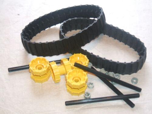 LEGO 2 Black Caterpillar Rubber Track 4 Technic Sprocket Drive Wheel Axles 4L