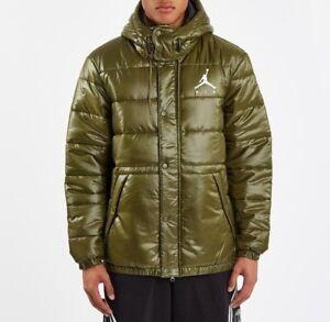 Details about Nike Jordan Jumpman Puffer Jacket Olive Canvas AA1957 395 Size XLarge NEW