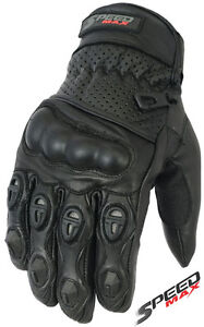 MENS-PERFORATED-CARBON-KNUCKLE-VENTED-SUMMER-MOTORBIKE-MOTORCYCLE-LEATHER-GLOVES