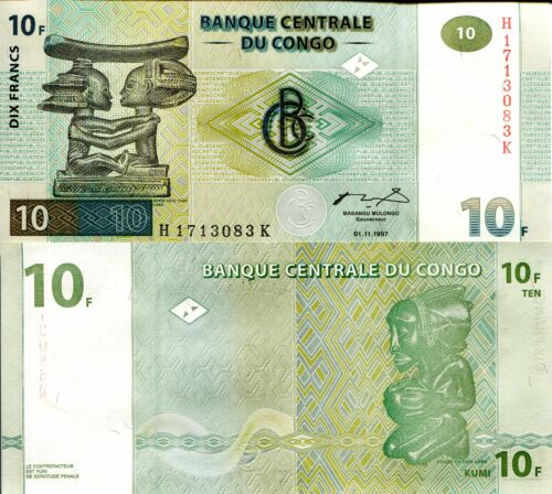 CONGO 10 Francs Banknote World Paper Money UNC Currency Pick p87B 1997 Bill Note