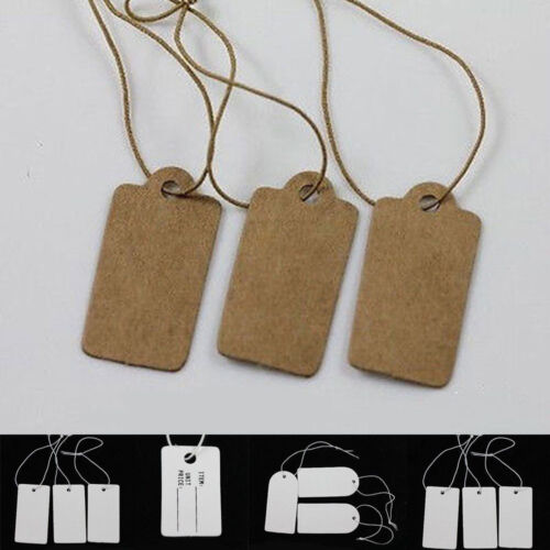 100//500Pcs Kraft Paper Gift Tags Scallop Label Luggage Wedding With Strings