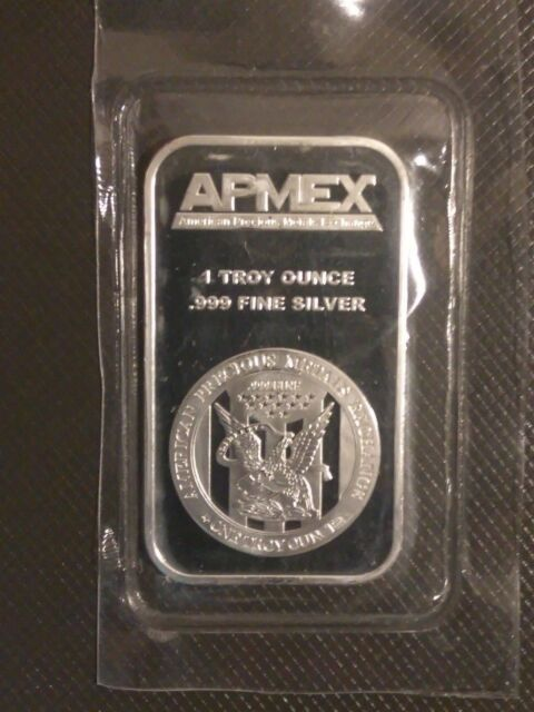 Apmex 1 Oz Silver Bar 999 Fine New Sealed In Plastic Troy Ounce 1oz