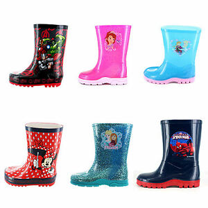 huge discount ffe53 1d57f Details about Girls Boys Marvel Avengers Disney Frozen Winter Wellies Shoes  Boots Size 6-12