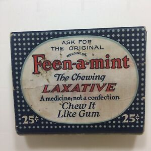 Vtg-Feen-a-Mint-The-Chewing-Laxative-Health-Products-Corp-EMPTY-Box-Container