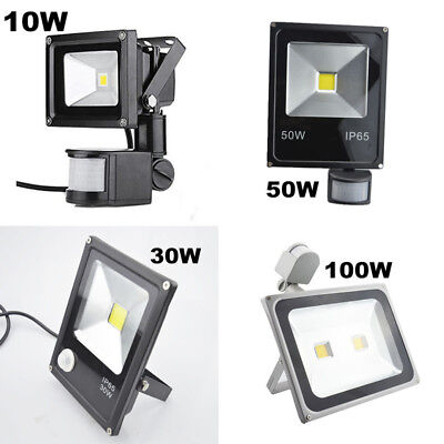 10w 30w 50w 100w Led Flood Light Pir Motion Sensor Outdoor Building Floodlight Ebay