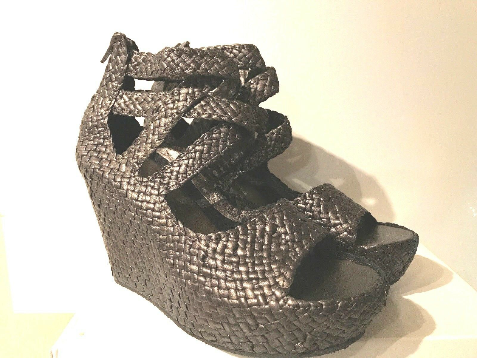 SHERIDAN MIA COLLETTE PEWTER WOVEN LEATHER GLADIATOR GLADIATOR GLADIATOR WEDGE SANDALS schuhe 40   9 d0725c