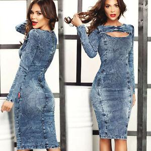 ESC-Damenkleid-Partykleid-Jeanskleid-Jeans-Abendkleid-Minikleid-34-36-E172