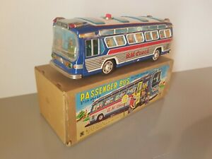 Tin-Toy-1960-039-s-Yonezawa-Japan-battery-operated-GMC-BUS-mint-in-box-with-inserts