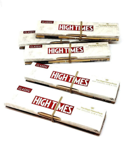 5 Packs Classic Raw High Times Rolling Papers King size Slim and Tips Limited