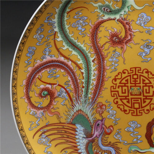 """9/""""Chinese Rose Porcelain painted Dragon and phoenix Plate"""