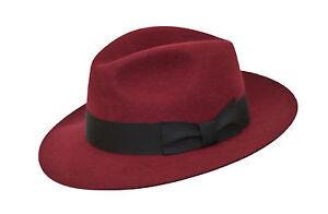 Pour-MARRON-100-Laine-Hand-Made-Plus-large-Bordure-Feutre-Chapeau-Trilby-Fedora