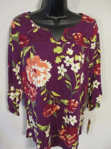 Sonoma Cotton Blend Casual Reg Size 3/4 Sleeve Yoked Knit Top SR $30 NEW