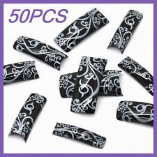 50pcs Black White Leaf French False Nail Tips FN0013+1 Free Glue