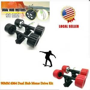 550W-Electric-Skateboard-Longboard-Part-90mm-Dual-6364-Hub-Motors-Drive-Kit-USAl