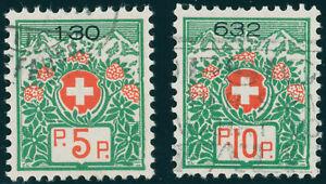 SCHWEIZ-1927-Portofreiheit-MiNr-11-12-I-x-Plattenfehler-III-Mi-60