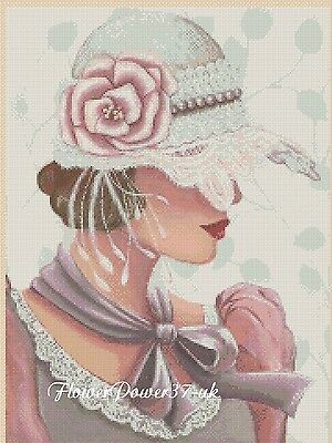 Cross stitch chart   Elegant Lady  No 192b FlowerPower37-uk