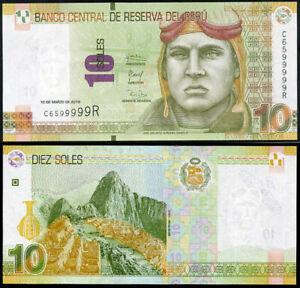 2017 P NEW SIGN UNC PERU 10 NUEVOS SOLES 2016