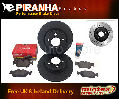 Ford Focus 1.6 98-04 Front Rear Brake Discs Black Dimpled Grooved Mintex Pads