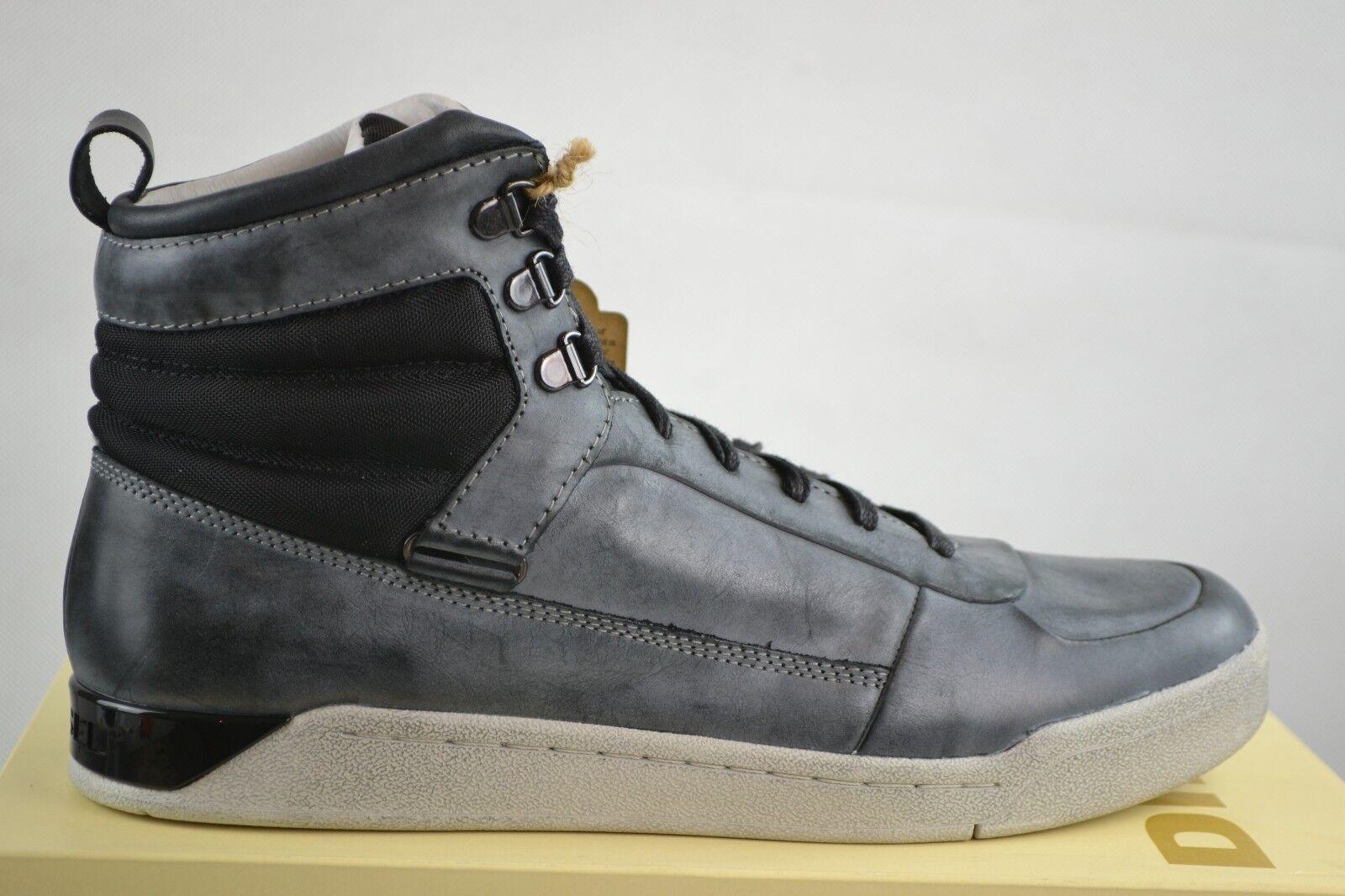 Diesel Onice grey black Leder Leather Shoes Schuhe Sneakers