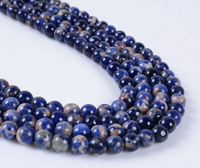 """6mm267 6mm Sodalite with calcite round loose gemstone beads 16"""""""