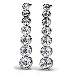 Image Is Loading 1 Carat 7 Stone Designer Drop Journey Earrings