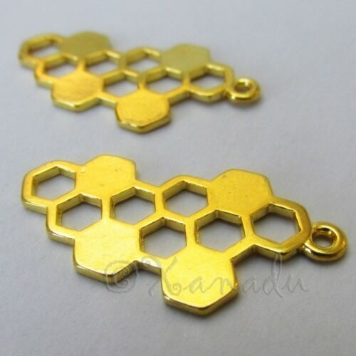 Honeycomb 32mm Wholesale Gold Plated Bee Charm Connector C1379 - 5, 10, 20PCs