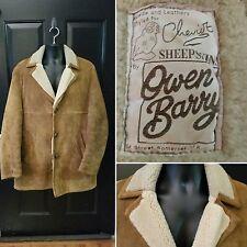 Shearling Sheepskin Brown Leather Jacket Owen Barry UK Suede Coat Mens Size 42