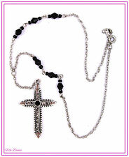 LOVELY GOTHIC SILVER CRUCIFIX CROSS PENDANT NECKLACE WITH BLACK FACETED BEADS.