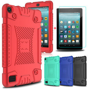 For-Amazon-Kindle-Fire-HD-8-Fire-7-Soft-Tablet-Case-Cover-Glass-Screen-Protector