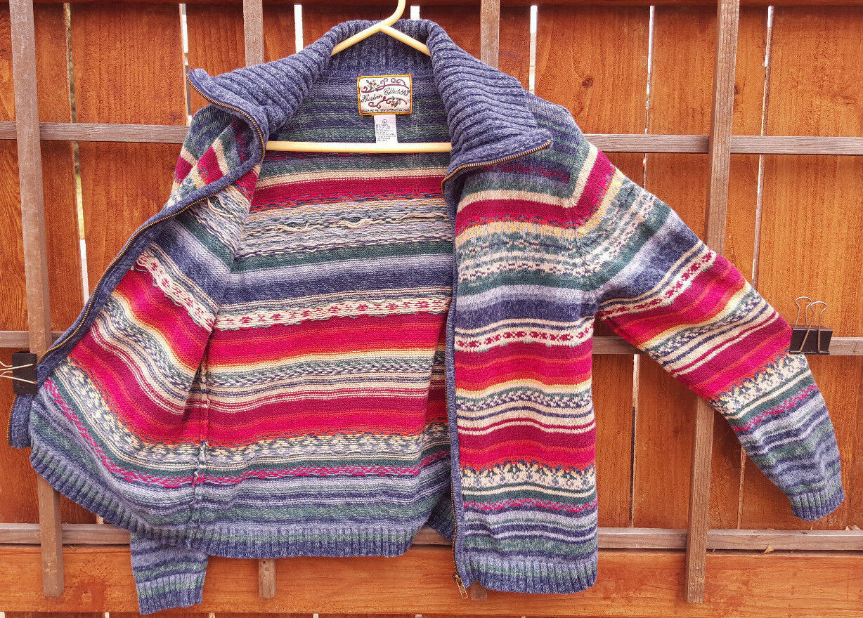 Heirloom Colectables Zip Up Sweater-L-Wool Blend-Multi color-Hip Cool-