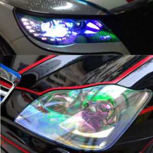 1x-Transparent-Chameleon-Auto-Car-Headlight-amp-Tail-Light-Film-Sticker-30cmx120cm