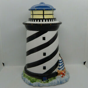 Coastal-Breeze-Lighthouse-Ceramic-Cookie-Jar-w-Ocean-and-Sailboat-12-034-H-GKRO