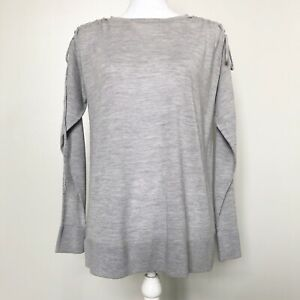 Ann-Taylor-Womens-Sweater-Gray-Tie-Shoulder-Long-Sleeve-Merino-Tunic-XS