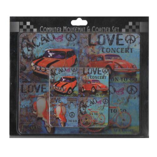 Rouge Voiture Design Tapis de souris d/'ordinateur et coaster set