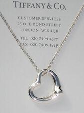 Tiffany & Co Elsa Peretti 22mm Open Heart Sterling Silver Pendant Necklace