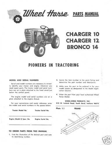 Wheel Horse Bronco 14 Chargesr 10-12 Parts Manual