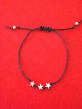 Silver Stars Friendship Bracelet - Adjustable - Choice of Colour Cord