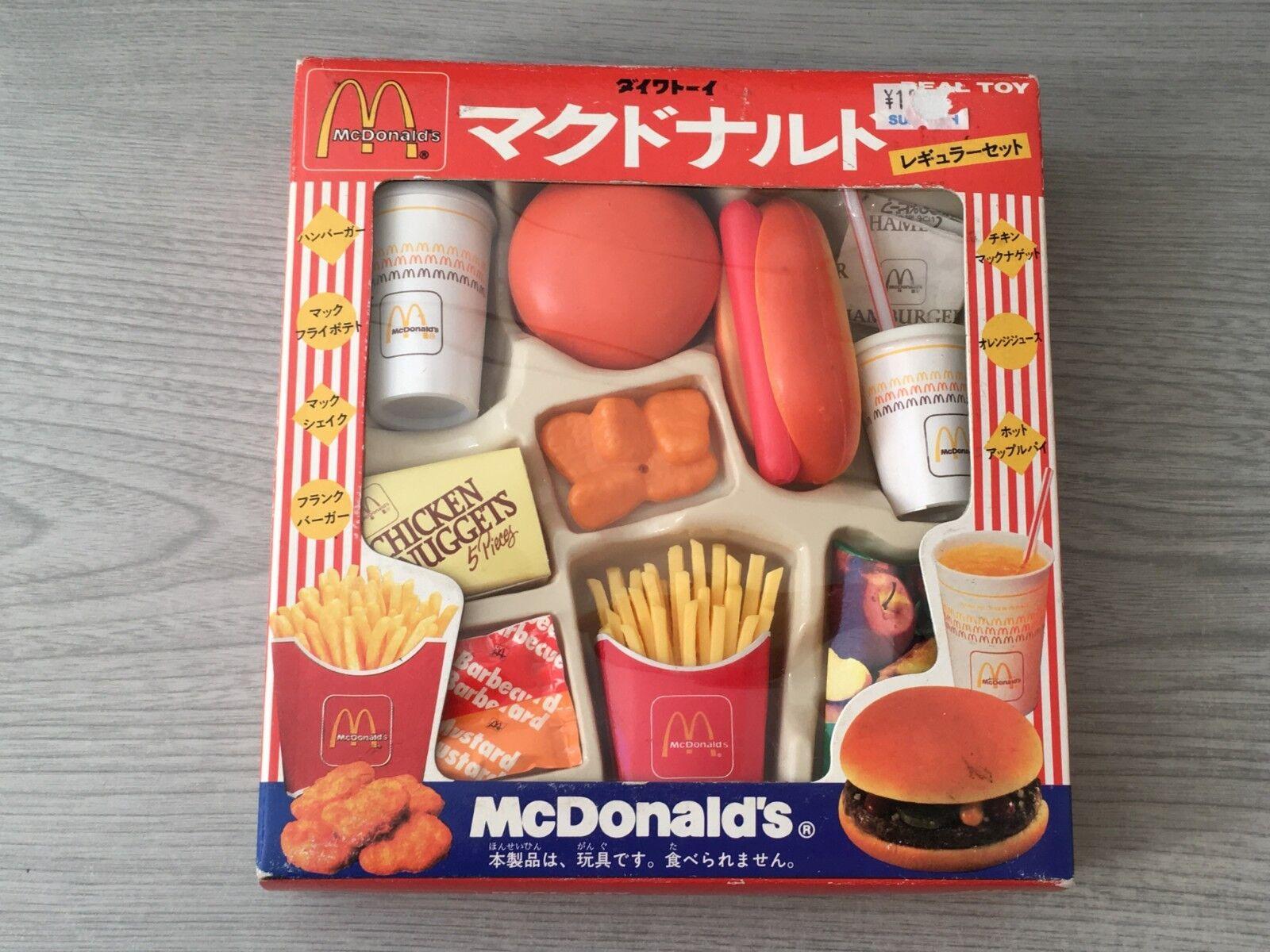 RARE Vintage 1995 New Boxed Japanese McDonald's Plastic Toy Food Set Hamburger