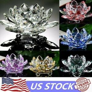 Lotus-Crystal-Glass-Figure-Paperweight-Ornament-Home-Office-Decor-Collection-USA
