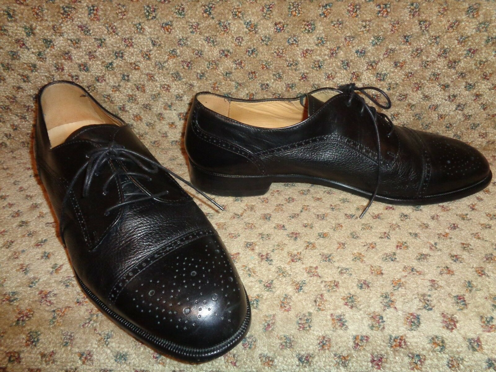 PRONTO UOMO FIRENZE ITALY BLACK FINE ALL LEATHER CAP-TOE BROGUE DRESS SHOES-10.5