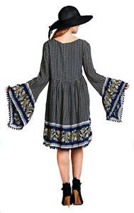 VELEZRA-Womens-Flowy-Chic-Boho-Pheasant-Bohemian-Long-Bell-Sleeve-Dress-S-M-L