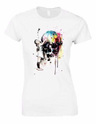 Girl hugging Coloured Skull Banksy Gothic Womans Cut Shirt Top AK55
