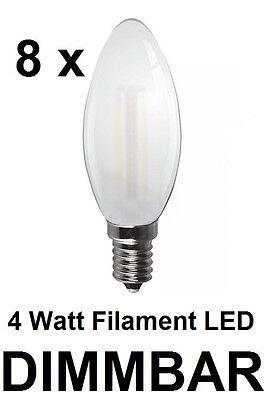 8 x 4 Watt FADEN-LED Kerze, Fassung E14, Milchglas DIMMBAR