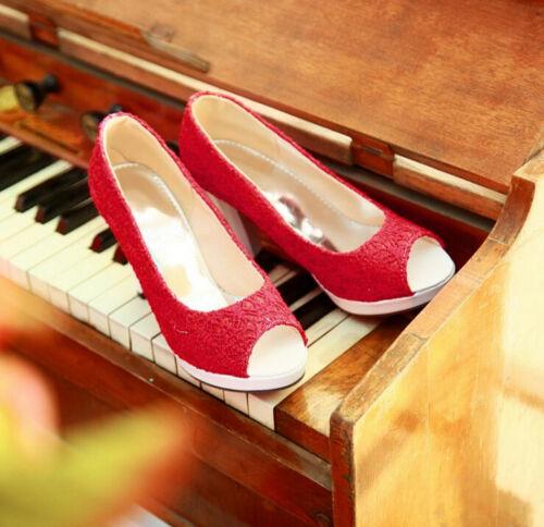 Womens Lace Wedding High Heel Peep Toe Slip On Pumps Sandals Plus SZ Shoes