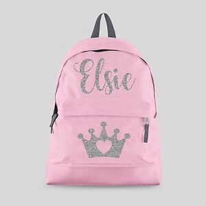 57512bb73a Image is loading Personalised-Kids-Backpack-Any-Name-Crown-Tiara-Girls-