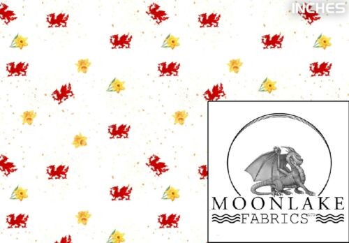 Welsh Dragon and Daffodil  100/% Quality Cotton Poplin Fabric Exclusive *