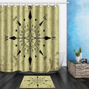 Image Is Loading Nautical Compass Shower Curtain Polyester Bathroom Decor Amp