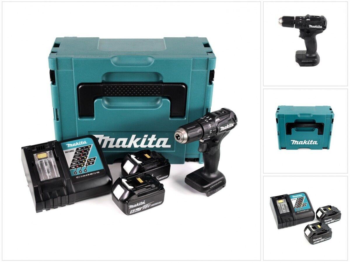 Makita DHP 483 RTJ B Schlagbohrschrauber Brushless + 2x Akku + Lader im MAKPAC