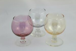 Vintage Set 3 Cups Coñac-brandy, Crystal Of Three Colores. Year 1970