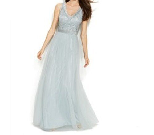 Patra Dress Petite Sz 14P Silver Blue Beaded Mesh Tulle Long Formal Evening Gown